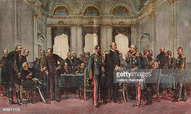The Congress of Berlin July 13 1878 from left Baron Haymerle Count Caroly Count Launay Prince Gortschakoff Waddington Lord Beaconsfield von Radowitz...