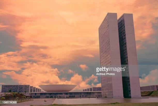 The Congresso Nacional or Palacio Nereu Ramos the Brazilian Parliament designed by Brazilian architect Oscar Niemeyer in Brasilia Brazil April 1985...