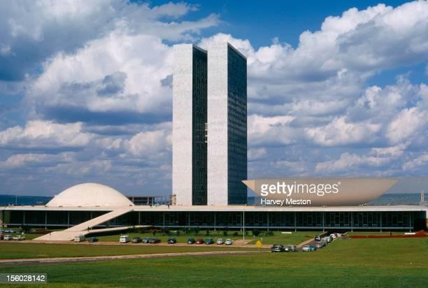 The Congresso Nacional or Palacio Nereu Ramos, the Brazilian Parliament, designed by Brazilian architect Oscar Niemeyer in Brasilia, Brazil, circa...