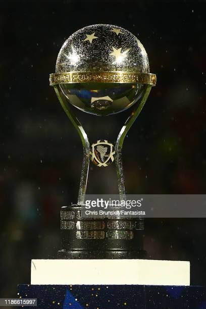 The CONMEBOL Sudamericana trophy is seen following the final of Copa CONMEBOL Sudamericana 2019 between Colon and Independiente del Valle at Estadio...