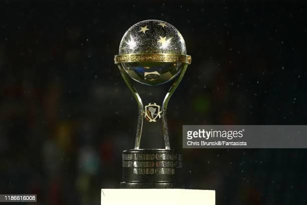 The CONMEBOL Sudamericana trophy is seen following the final of Copa CONMEBOL Sudamericana 2019 between Colon and Independiente del Valle at Estadio...