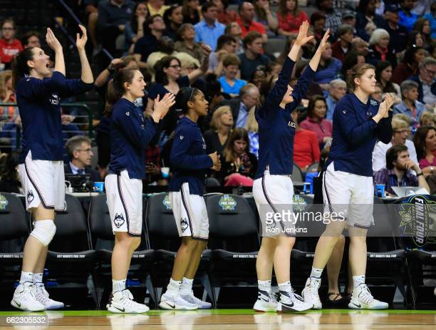 The Connecticut Huskies bench reacts against the Mississippi State Lady Bulldogs in the third quarter during the semifinal round of the 2017 NCAA...