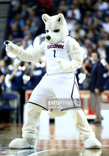 The Connecticut Huskies mascot walks on the court in the first half against the Stanford Cardinal during the NCAA Women's Final Four semifinal at...