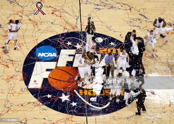The Connecticut Huskies react after defeating the Butler Bulldogs to win the National Championship Game of the 2011 NCAA Division I Men's Basketball...