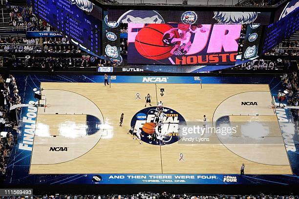 The Connecticut Huskies tip the ball off against the Butler Bulldogs to start the National Championship Game of the 2011 NCAA Division I Men's...
