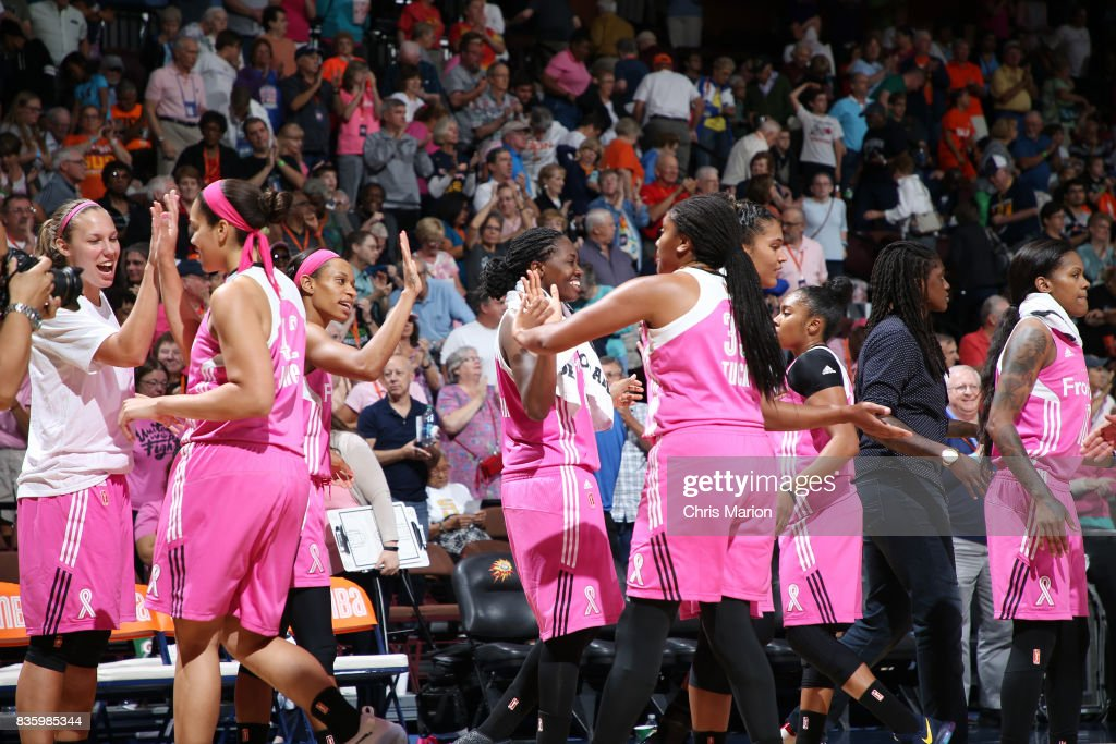 The Connecticut Sun celebrate a win against the Phoenix Mercury on August 20, 2017 at Mohegan Sun Arena in Uncasville, CT.