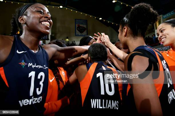 The Connecticut Sun huddle up after beating the New York Liberty on June 7 2018 at Westchester County Center in White Plains New York NOTE TO USER...