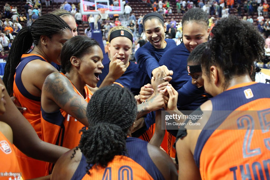 The Connecticut Sun team lead by Courtney Williams #10 of the Connecticut Sun celebrate victory after the Connecticut Sun Vs Dallas Wings, WNBA regular season game at Mohegan Sun Arena on August 12th, 2017 in Uncasville, Connecticut.