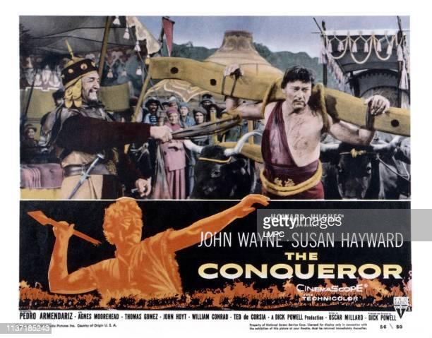 The Conqueror lobbycard from left Ted de Corsia John Wayne 1956