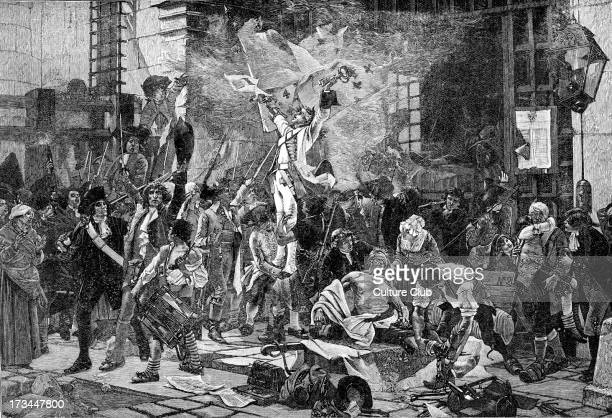 The Conquerors of the Bastille after the picture by François Flameng Entrance/interior of the Bastille Prison Paris France following its storming 14...