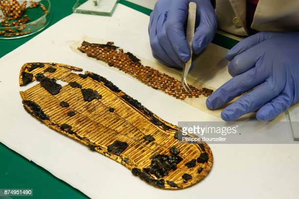 The conservationist Amir Moustafa is reconstructing one of the golden snadales from the tomb of Tutankhamen GEM Bio Restoration Laboratory in Cairo...