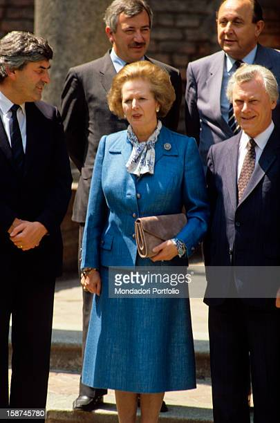 The conservative leader Margaret Thatcher also known as The Iron Lady poses soberly for the official foto in the company of other leaders during the...