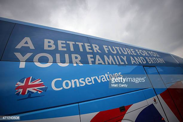 The Conservative party 'battle' bus arrives at the village hall in Norton Sub Hamdon in the Yeovil constituency on April 26 2015 in Somerset England...