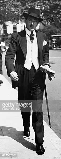 The Conservative politician Sir Anthony Eden in a white waistcoat