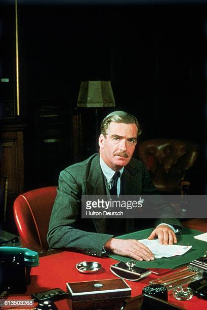 The Conservative politician Sir Anthony Eden whilst Secretary of State for Foreign Affairs, a position he held from 1951 until 1955, when he became...