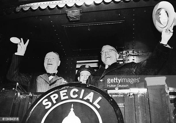 The Conservative politician Winston Churchill with the American President Harry Truman before leaving for Fulton Missouri where Churchill made his...