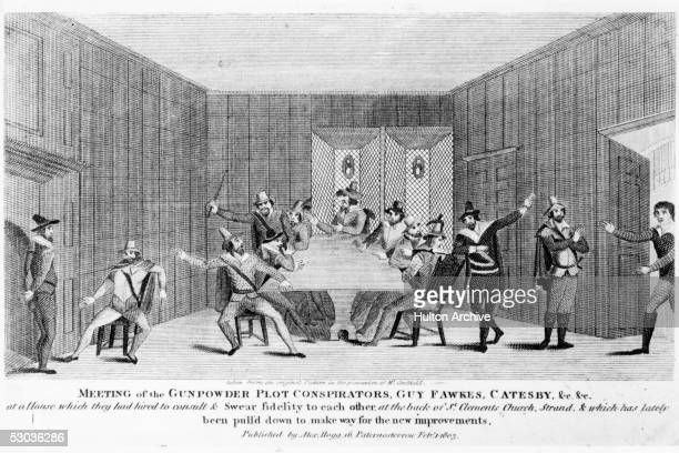 The conspirators in the Roman Catholic Gunpowder plot of 1605 meet in a house at the back of St Clements Church on the Strand London Amongst them are...