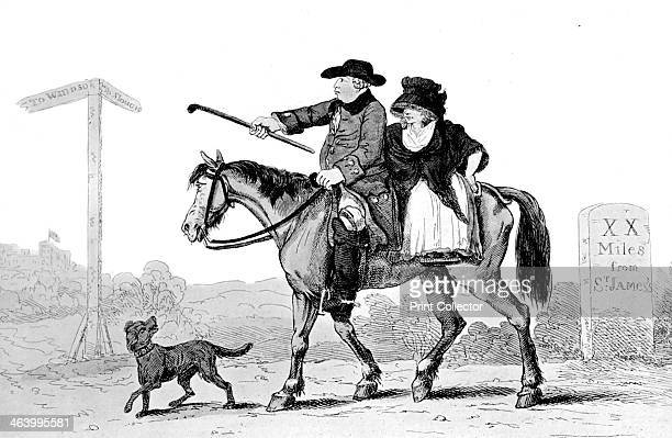 'The Constant Couple' 1786 The Prince of Wales and his mistress Mrs Fitzherbert travelling to Windsor Illustration from Social Caricature in the...