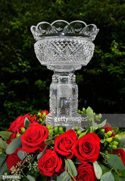 The Constellation SENIOR PLAYERS Championship trophy is displayed on the first hole during the first round of the PGA TOUR Champions Constellation...