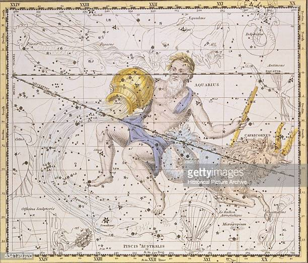 The Constellations Aquarius and Capricorn from A Celestial Atlas by Alexander Jamieson
