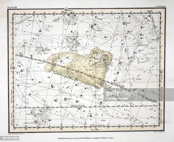 The Constellations Aries and Musca Borealis from A Celestial Atlas by Alexander Jamieson pub London 1822 First Sign of the Zodiac