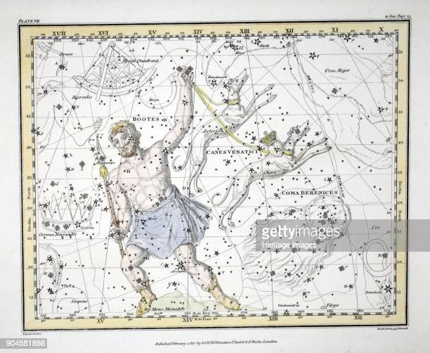 The Constellations Bootes and Mons Maenalus Asterion and Chara or Canes Venatici Coma Berenices from A Celestial Atlas by Alexander Jamieson pub...