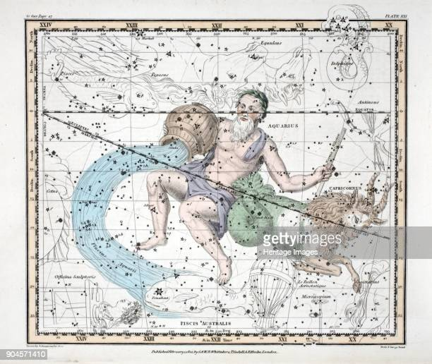 The Constellations Capricorn and Aquarius from A Celestial Atlas by Alexander Jamieson pub London 1822 Tenth and eleventh Sign of the Zodiac