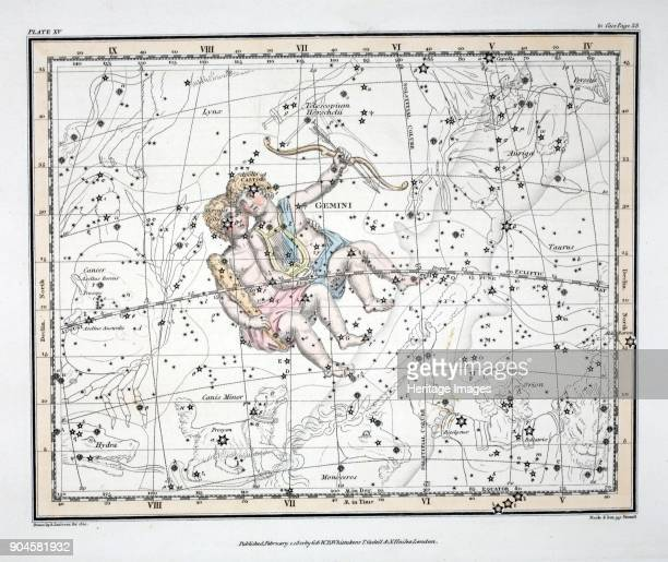 The Constellations Gemini from A Celestial Atlas by Alexander Jamieson pub London 1822 Third sign of the Zodiac
