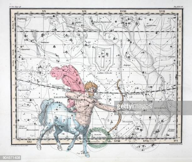 The Constellations Sagittarius from A Celestial Atlas by Alexander Jamieson pub London 1822 Ninth Sign of the Zodiac