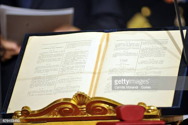 The Constitution Book at Qurinale Place on December 12, 2016 in Rome, Italy.