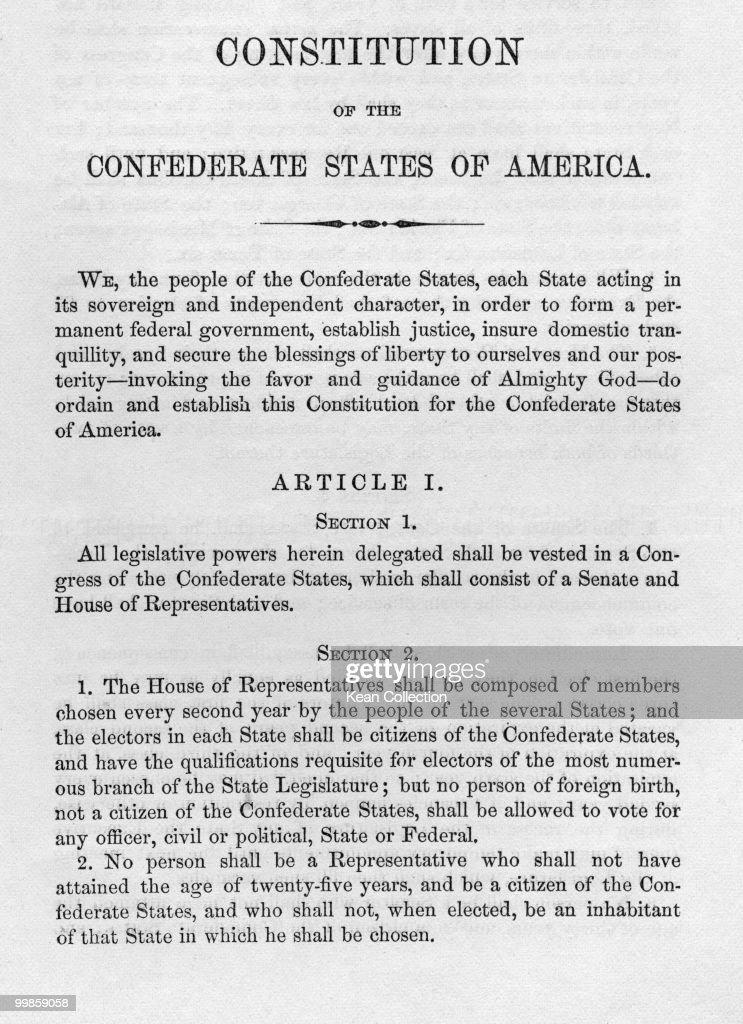 Constitution of Confederates : News Photo