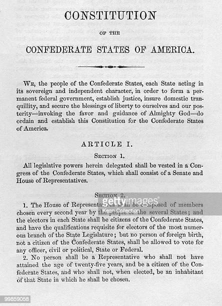 The Constitution of the Confederate States of America prior to the US civil war circa March 1861