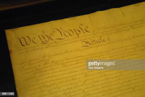 The Constitution of the United Statesis stored under glass in the rotunda of the National Archives
