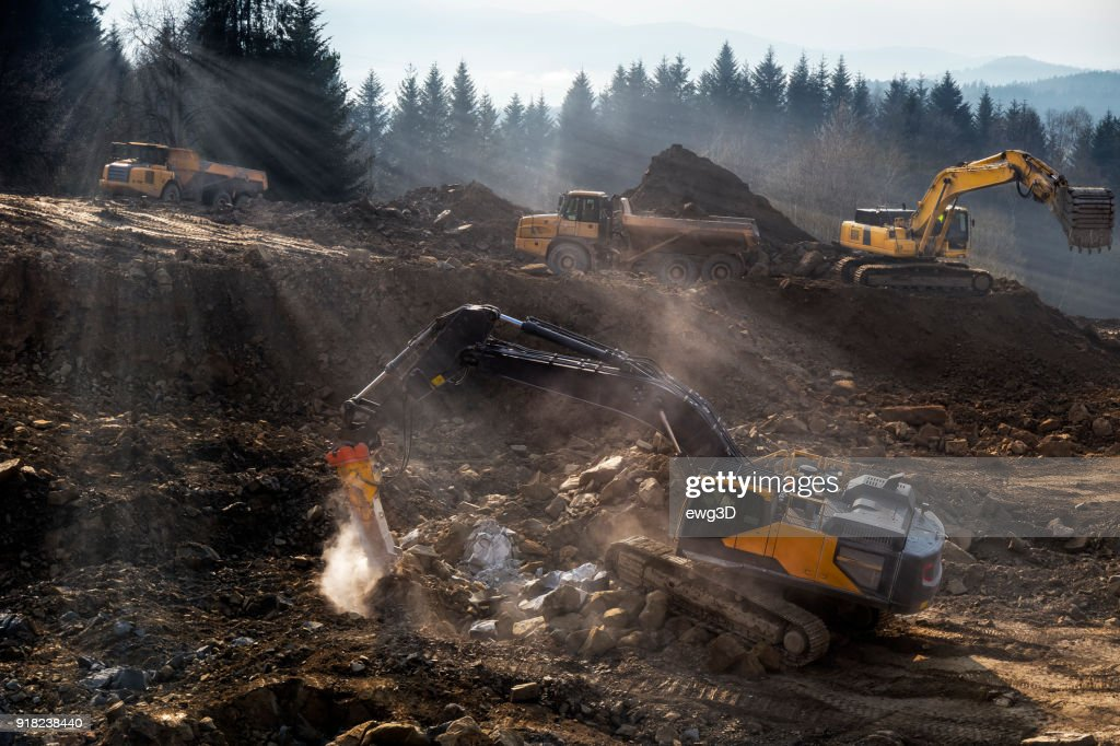 The construction machinery  prepare the ground for the construction of highway S7, Naprawa, Poland : Stock Photo