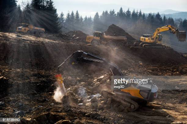 The construction machinery  prepare the ground for the construction of highway S7, Naprawa, Poland