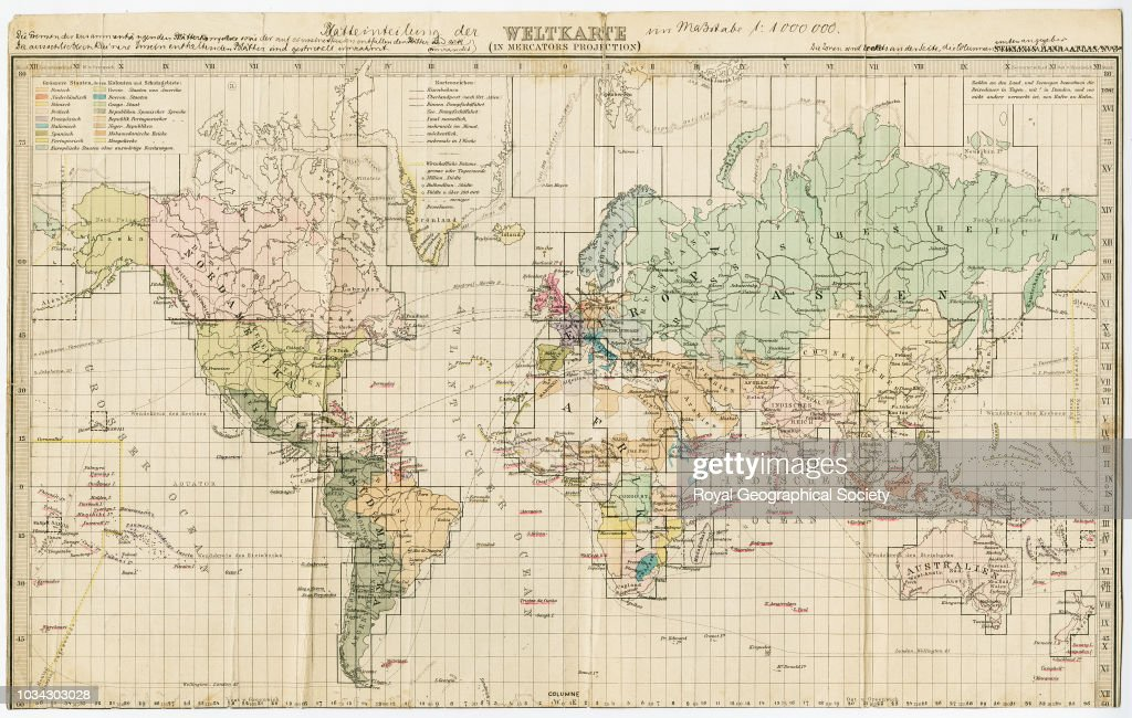 1892 Map Of The World.The Construction Of A Map Of The World On A Scale Of 1 000 000