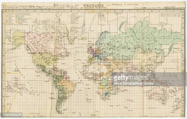 The construction of a map of the world on a scale of 1000 Includes manuscript annotations by Dr A Penck World circa 1892
