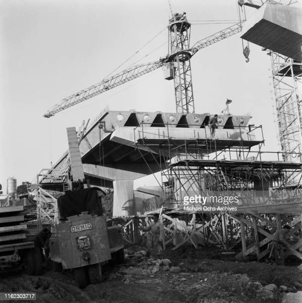 The construction of Corso Francia overpass which crosses the area of the Olympic Village, Rome, Italy, 31st January 1960.