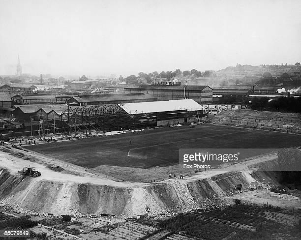 The construction of Norwich City FC's new football ground at Carrow Road, Norwich, 30th July 1935.