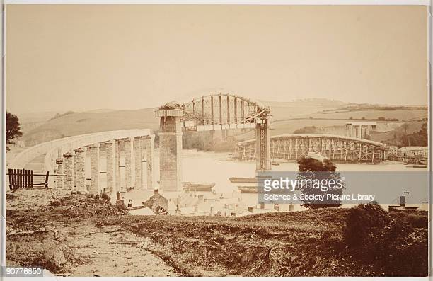 The construction of the Royal Albert Bridge at Saltash Devon The bridge was designed by Isambard Kingdon Brunel for the Cornwall Railway It took the...