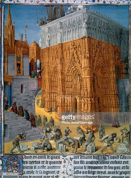 The construction of the Temple of Jerusalem by King Solomon The King attends the construction from the balcony of his palace Miniature from the...