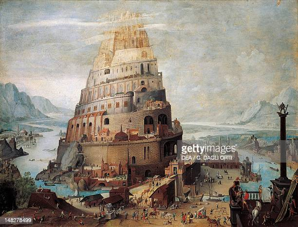 The construction of the tower of Babel 16th century by an unknown Flemish artist Siena Pinacoteca Nazionale Buonsignori Palace