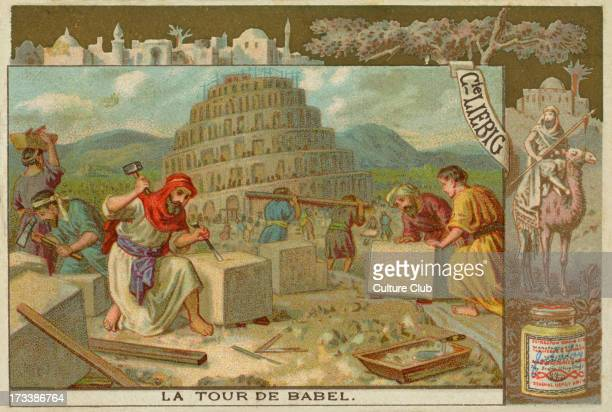 The construction of the Tower of Babel Shinar Liebig card Bible Scenes 1896