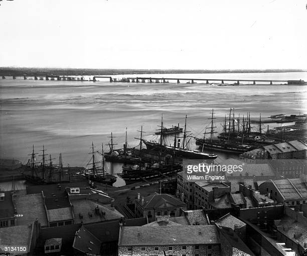 The construction of the Victoria Bridge across the St Lawrence River at Montreal Quebec Province carrying a railroad between the east and west shores