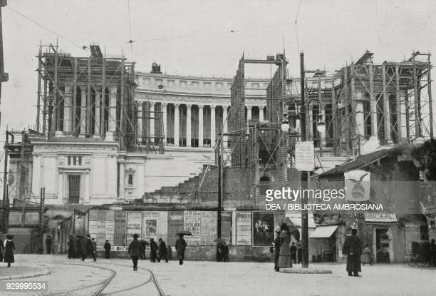 The construction of the Vittoriano, also called Altare della Patria, Rome Italy, from L'Illustrazione Italiana, Year XXXVII, No 17, April 24, 1910.