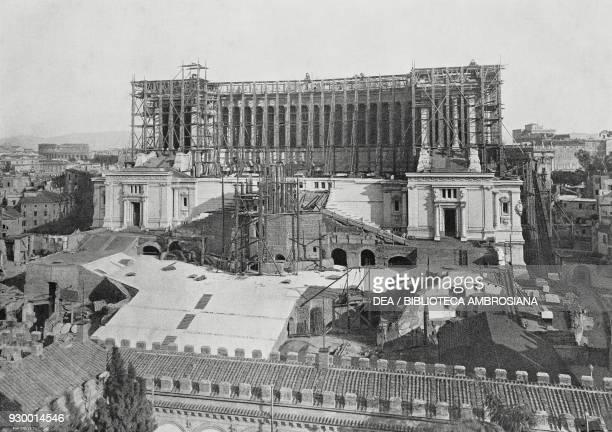 The construction of the Vittoriano, also called Altare della Patria, Rome Italy, photo by F Reale, from L'Illustrazione Italiana, Year XXXVI, No 45,...
