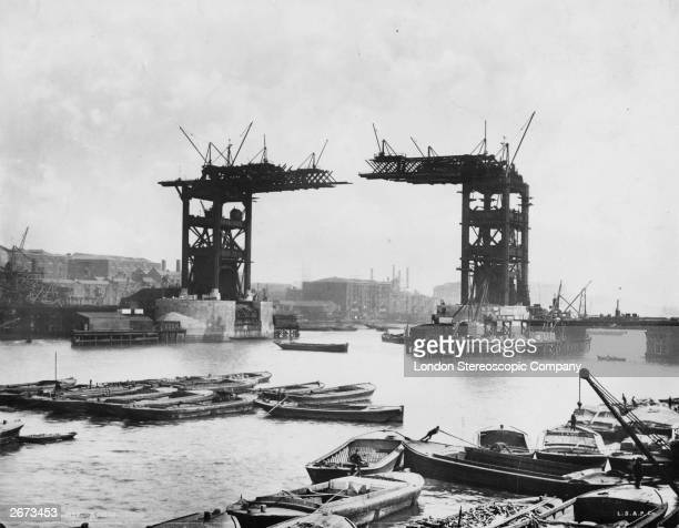 The construction of Tower Bridge London which was completed in 1894