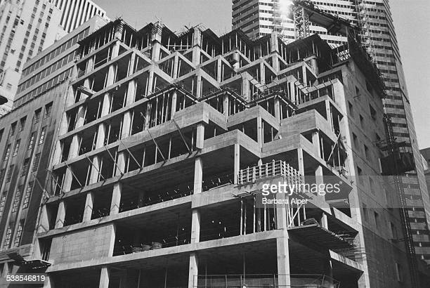 The construction of Trump Tower on the corner of Fifth Avenue and East 56th Street in Midtown Manhattan New York City August 1981