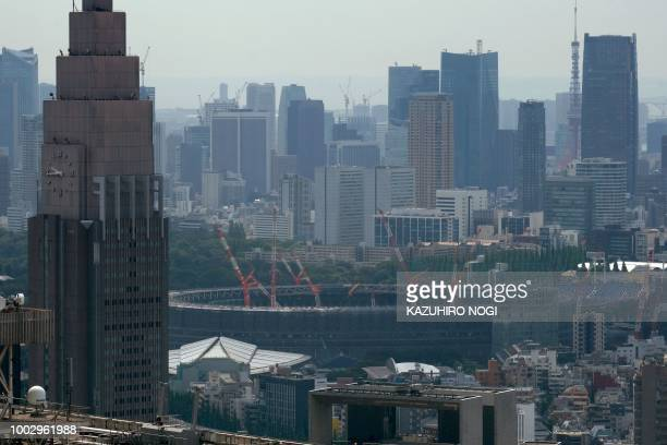 The construction site for the new National Stadium venue for the upcoming Tokyo 2020 Olympic Games is seen in Tokyo on July 21 2018