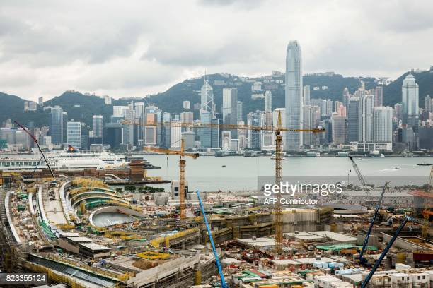 The construction site for the West Kowloon terminus of the highspeed rail link connecting Hong Kong to the southern Chinese city of Guangzhou is seen...